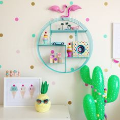 Kids bedroom ideas | fun rooms for little girls with pineapple, cactus and flamingo decor | toddlers