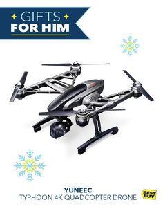 Has someone on your list been especially good this year? Reward them with the Yuneec Typhoon Quadcopter. With intuitive controls for easy learning, a sophisticated built-in camera, and strong, durable body, this frequent flyer has just about everyth Cool Gifts, Best Gifts, Holiday Gifts, Christmas Gifts, Drone Quadcopter, Drones, Cool Gadgets, Holidays And Events, Gifts For Him