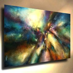 "Large Abstract Art 72"" Painting Modern Contemporary Mix Lang Certified Original 