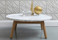 love the gold and wall design. modern table coffee marble bethan gray