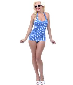 Would be so flattering for chubby tummy Blue Polka Dot Sweetheart Halter Salli Retro Swimsuit- Unique Vintage Unique Vintage, Vintage Looks, Vintage Prom, Vintage Soul, Unique Swimsuits, Retro Swimsuits, Vintage Bathing Suits, Swimming Outfit, Beach Attire