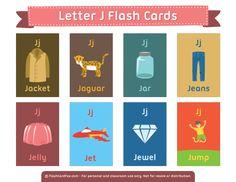 Free Printable Letter J Flash Cards Letter Flashcards, Flashcards For Kids, Alphabet Cards, Kindergarten Syllabus, Kindergarten Language Arts, Abc Phonics, Teaching Phonics, Vocabulary Cards, Vocabulary Activities