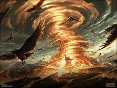 MtG Art: Firespout from From the Vault Annihilation Set by Raymond Swanland - Art of Magic: the Gathering Dark Fantasy Art, Fantasy Artwork, Fantasy World, Dark Art, New Fantasy, Fantasy Character Design, Character Art, Bild Gold, Magia Elemental