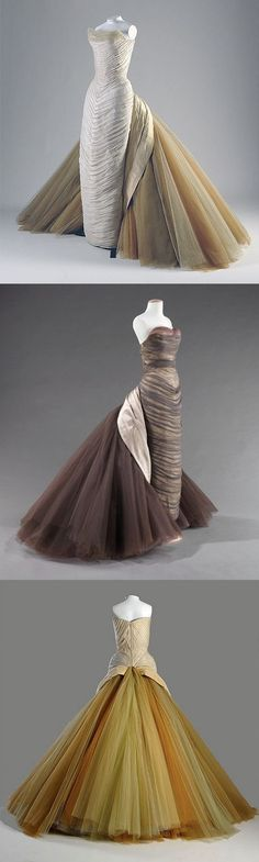 Charles James Butterfly Gowns, 1950s. Although he had salons in London an Paris in the 1930s, James was an influential American designer that opened a custom-made business in New York in the 1940s. Known for lavish ball gowns and architectural shapes, James was considered to be among the most original American designers.