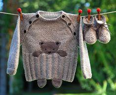 layette ensemble 3-6 mois ourson brassière et chaussons chiné gris/blanc neuf tricoté main : Mode Bébé par com3pom