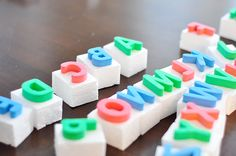 Large Letter Stamps - use the foam letters wrong side up on wood/cardboard/styrofoam and you're set.