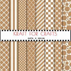 Kraft digital paper - brown paper with cross, stripes, quatrefoil, polkadots patterns for invitations, cardmaking, scrapbooking