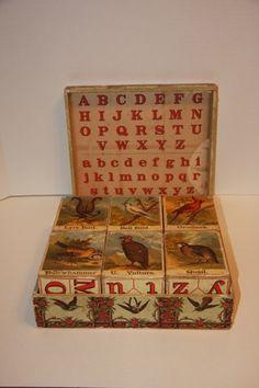 Antique McLoughlin Bros ABC Bird Blocks 1885 | eBay