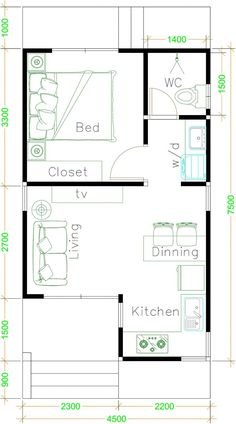 Dream house plans: Small House Plans with One Bedroom Shed roof – Sam House Plans 2020 One Bedroom House Plans, Small House Floor Plans, Cottage House Plans, Dream House Plans, One Bedroom Apartment, Shed House Plans, Bedroom Floor Plans, The Plan, How To Plan