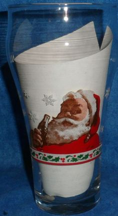 COCA COLA Christmas Glass Classic Santa Drinking Coca Cola (From Ad about 1931) #LibbyGlass