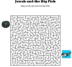 Kids Bible Worksheets-Free, Printable Jonah and the Big Fish Maze. For the older kids. Sunday School Activities, Sunday School Lessons, School Fun, Bible Story Crafts, Bible Crafts For Kids, Kids Bible, Bible Lessons, Lessons For Kids, Daniel And The Lions