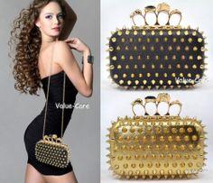 NEW Hedgehog RIVET Skull Ring Knuckle Evening Handbag Shoulder Clutch Purse Bag