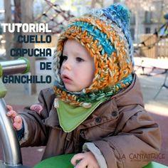 Tutorial capucha cuello de ganchillo para bebés y niños. Con diagramas y fotos (gratis). How to crochet a hat+snood for kids