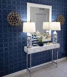 DIY entry way accent wall makeover ideas on a budget using easy to use geometric wall stencil patterns from Cutting Edge Stencils for home decor Damask Wall Stencils, Geometric Stencil, Stencil Decor, Wall Stencil Patterns, Mandala Stencils, Geometric Wall, Blue Accent Walls, Accent Wall Bedroom, Wall Accents
