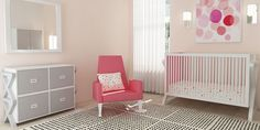 Lovely Pink Sofa Along With A Clear Crib Inside Girls Nursery Adopting Contemporary Kids Furniture