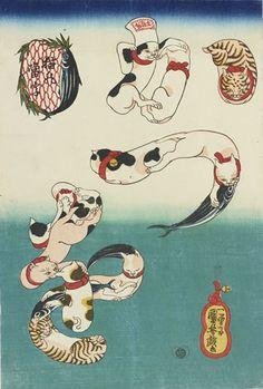 歌川国芳「猫の当字 かつを」個人蔵                                                                                                                                                                                 もっと見る