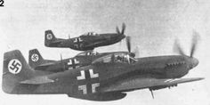 "die-wehrmacht: ""American P-51 Mustangs put into service with the German Luftwaffe. 1944. "" Very interesting. I didn't know the Germans had Mustangs captured. I would like to see more about this subject."