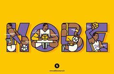 Kobe Bryant: a tribute. Typo-illustration.
