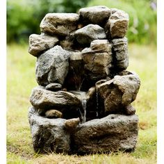 Polyresin and Fiberglass Small Rock Water Fountain