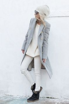 Spruce up head-to-toe winter white by adding a few different shades of gray.