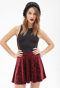 Floral-Patterned Velveteen Skirt | FOREVER21 - 2000137374 (SMALL EVERY COLOR)