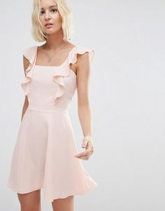 """ASOS Skater Dress with Square Neck and Ruffle Detail $52.00 Lightweight woven fabric Square neckline Ruffle trims Zip back Regular fit - true to size Machine wash 98% Polyester, 2% Elastane Our model wears a UK 8/EU 36/US 4 and is 175 cm/5'9"""" tall"""