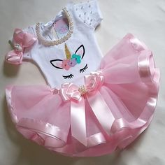 Image may contain: 1 person 1 Year Old Birthday Party, 1st Birthday Girls, Unicorn Themed Birthday, Unicorn Party, Baby Tutu Tutorial, Baby Girl Items, Unicorn Outfit, Baby Girl Dolls, Baby Couture
