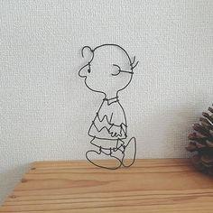 ワイヤー壁飾り(チャーリーブラウン♡) #ワイヤークラフト #ワイヤーアート#壁飾り#チャーリーブラウン #スヌーピー#カフェ風インテリア