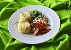 Cícer v horčicovej omáčke so zeleninovými hranolkami Tofu, Beef, Meat, Steak