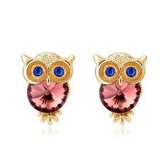 Crystal Owl Stud Earrings (18k Gold Plated)