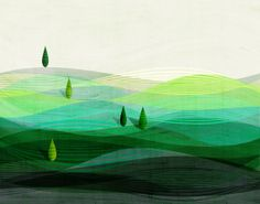 Green Rolling Hills Landscape... Art Print by LuckySkye on Etsy, $20.00.   #munire #pinparty #MadeinUSA