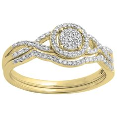 10k Gold 1/4ct TDW Diamond Twisted Split Engagement Ring Set