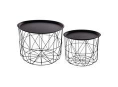 structure en acier finition laquee epoxy coloris noir. plateau en fer finition laquee epoxy coloris noir. grande table: d53.5xh40 cm petite table: d43.5xh33.5 cm