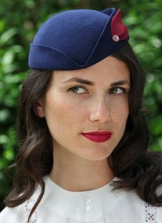 1940s style Cocktail Hat in Navy with Wine detail. $95.00, via Etsy.