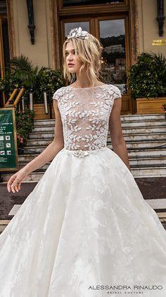 alessandra rinaudo 2017 bridal cap sleeves bateau neckline floral heavily embellished bodice romantic princess a  line wedding dress with pockets lace back royal long train (brigitta) zv