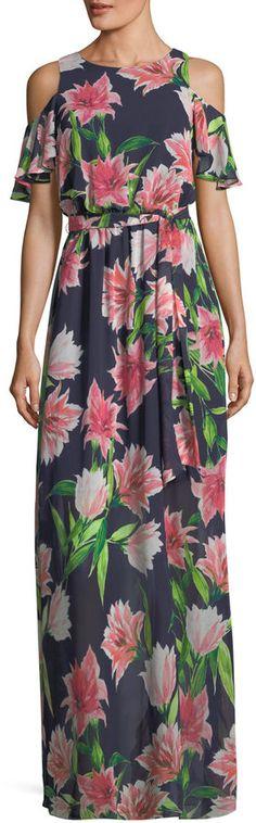 Eliza J Floral-Print Cold-Shoulder Maxi Dress f1d6d24d7d