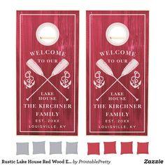 Rustic Lake House Red Wood Established Family Name Cornhole Set Custom Cornhole Boards, Cornhole Set, Rustic Lake Houses, Cross Beam, Pretty Designs, School Colors, Family Games, Red Wood, Rustic Design