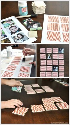 This week we made our very own memory game using family pictures! Pinhole Press makes a beautiful set of customized memory game pieces that make for a Memory Games For Kids, Activities For Kids, Dementia Activities, Presents For Kids, Gifts For Kids, Kids Crafts, Diy And Crafts, Creative Crafts, Diy Wedding Gifts