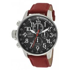 Invicta Men's 11517 I-Force Chronograph Black Dial Burgundy Rifle Watch Invicta. $113.66. Chronograph functions with 60 second, 60 minute and 1/10th of a second subdials; date window at 4:00. Swiss quartz movement. Water-resistant to 100 M (330 feet). Mineral crystal; stainless steel case; burgundy rifle strap. Black dial with black and white hands, white Arabic numerals and red second hand; tachymeter scale on inner bezel; luminous; crown and pushers at 9:00. Save 81%!