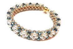 Make a cubic right-angle weave bracelet with plenty of sparkling crystals and pearls. Woven Bracelets, Bangles, Right Angle Weave, Peri, Weaving, Sparkle, Crystals, Etsy, Jewelry
