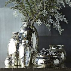 Mercury-Glass Vases from West Elm ~ What I like about these vases....you can use them all year round!
