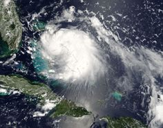 Tropical Storm Katrina over the Bahamas and east of Florida, August 24, 2005