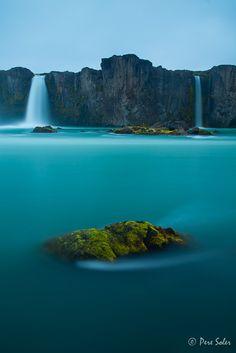 Waterfall of Gods,Godafoss at midnight, İceland, By Alika