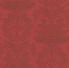 Long Gallery Red (ZCDW08004) - Zoffany Wallpapers - A timeless damask of floral bouquets and streaming leaves in red burgundy and claret-red. Evoke opulence and elegance with this large-scale pattern repeat of 101.8cm. Additional colourways also available. Please order sample for true colour match.