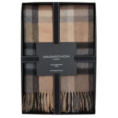Magaschoni Plaid Cashmere Throw ($298) ❤ liked on Polyvore featuring home, bed & bath, bedding, blankets, decor, grey, pillows & throws, gray throw blanket, plaid blanket throw and plaid throw