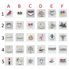*Floating Charms for Glass Living Memory Lockets DIY Locket Bracelet Accessories  ***PLEASE NOTE: PLEASE LOOK AT THE SECOND PICTURES TO SELECT.  ***TO ADD LOCKETS BRACELET, PLEASE ADD THIS LISTING TO YOUR CART: https://www.etsy.com/listing/214767179/locket-bracelet-rhinestone-floating?ref=shop_home_active_1  <> Material: Alloy,Plating  <>Size: Mix Size  <>Color: Mix Color as pictures shows  <> Shipping:  Country -----------------------Transportation--------------------Delivery Time  United…