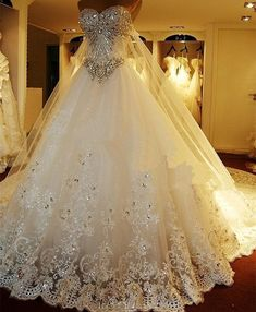 Luxury Beaded Wedding Dresses with Back Slip Chic Long Train Bridal Gowns Fabulous Wedding Gowns Vestido De Novia on Storenvy