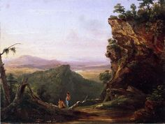 """""""Paysage Affichage d Indiens"""", huile sur panneau de Thomas Cole (1801-1848, United Kingdom)"""