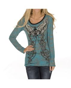 Vocal Long Sleeve Burnout Top - Teal $37.99  http://www.countryoutfitter.com/products/53886-long-sleeve-burnout-top-teal