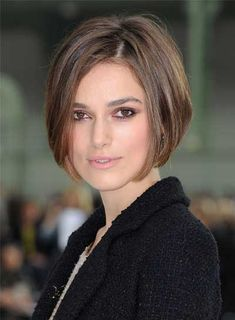 Keira Knightley's new angled bob looks so effortlessly chic. Steal her style:    1. Apply smoothing cream to damp hair and blow dry straight using a round brush.   2. When you reach your ends, angle the brush towards your chin to shape your layers around your face.  3. If you want a more tousled look, just let your hair dry naturally instead of blow drying it.   4. Put some styling wax on your fingertips and rake them through your hair to add texture to your bob.